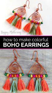 Collage of boho dangle earrings