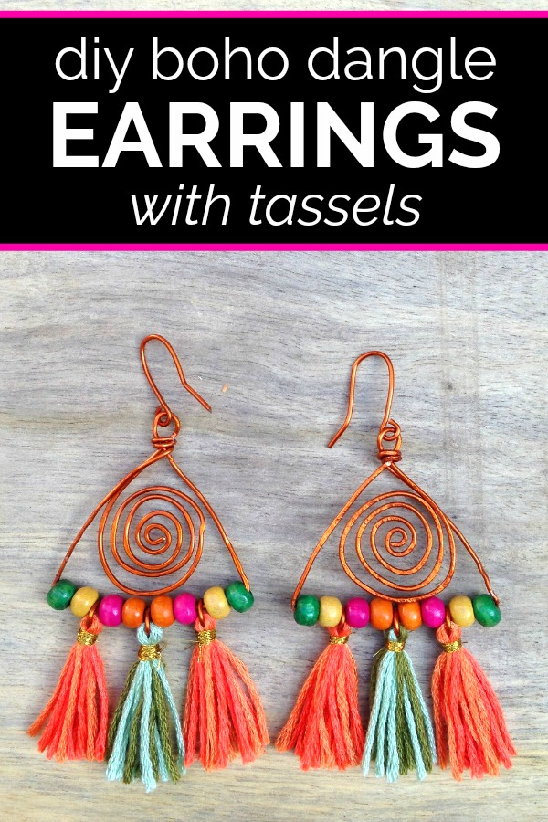 Boho dangle earring with tassels