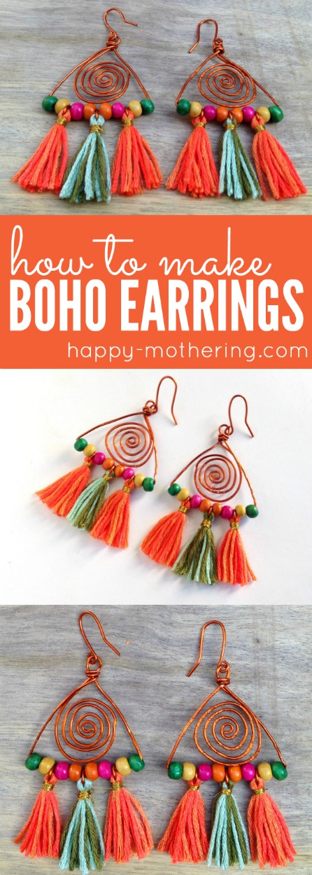 Do you want to learn how to make your own handmade Hippie Bohemian style jewelry? Our DIY Colorful Boho Earrings with copper wire and tassels is an easy project.