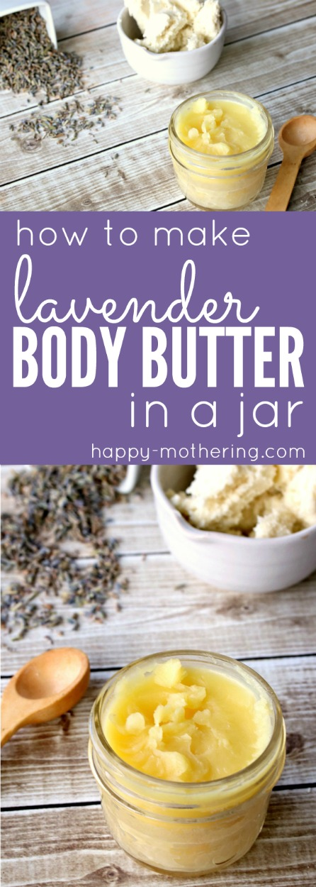 Are you searching for the best DIY natural beauty recipe for dry skin? Learn how to make a rich lavender body butter in a jar.