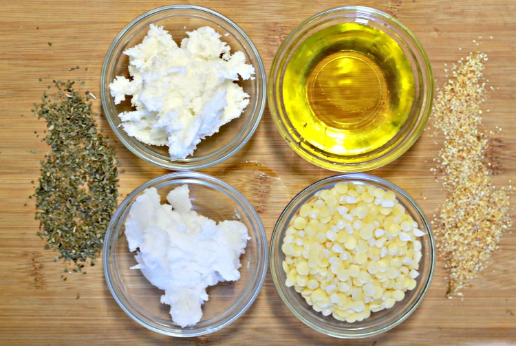 Ingredients in bowls to make lemon basil solid lotion bars