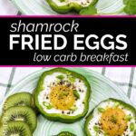 Two plates of Shamrock fried eggs