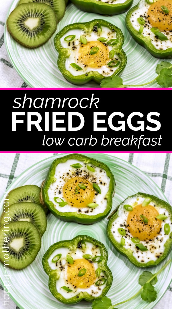 Are you looking for a low carb breakfast idea for St. Patrick's Day? These Shamrock Fried Eggs are delicious, healthy and a lot of fun for St. Patty's Day - or any day of the year.