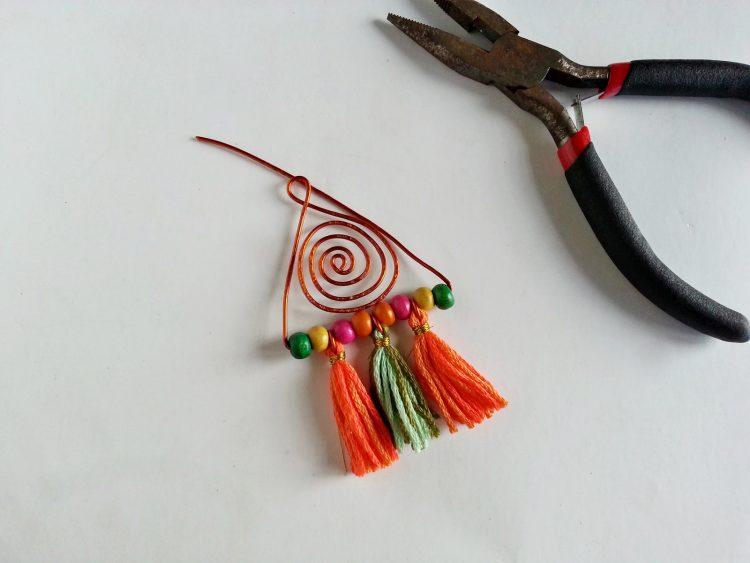 How to make colorful boho earrings step 13