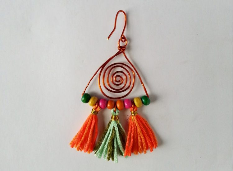 How to make colorful boho earrings step 16