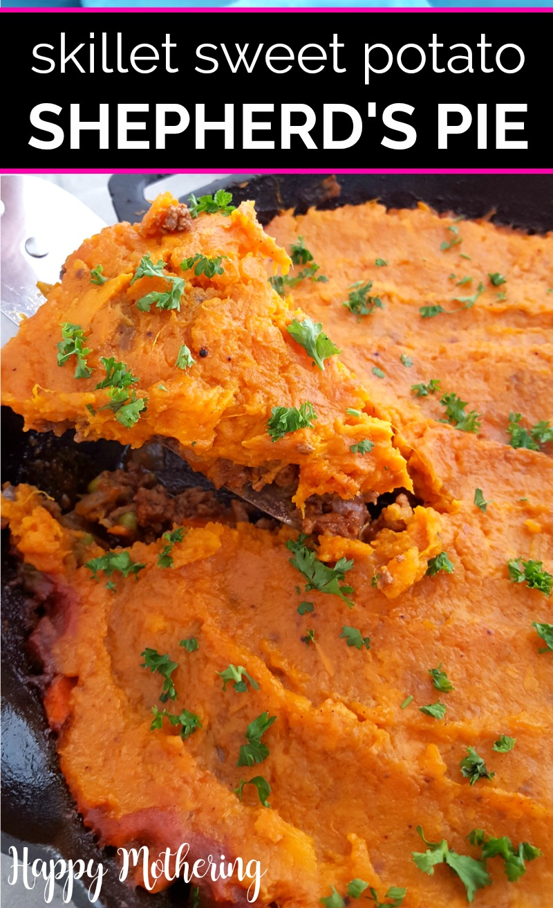 Sweet Potato Shepherd's Pie being served from a cast iron skillet
