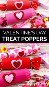 Five different treat poppers filled with Valentine's Day toys and candy for classroom parties