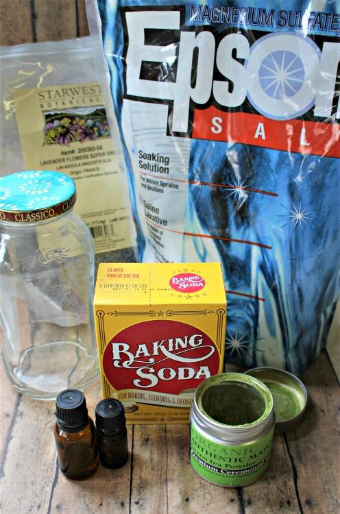 Supplies to make a Matcha Green Tea Anti-Aging Bath Salts recipe.