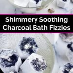 Two bowls of homemade bath fizzies with activated charcoal