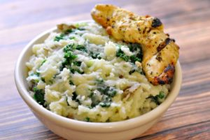 Irish Colcannon with one Chicken Fingers in a bowl