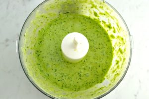 Blended up jalepeno cilantro sauce