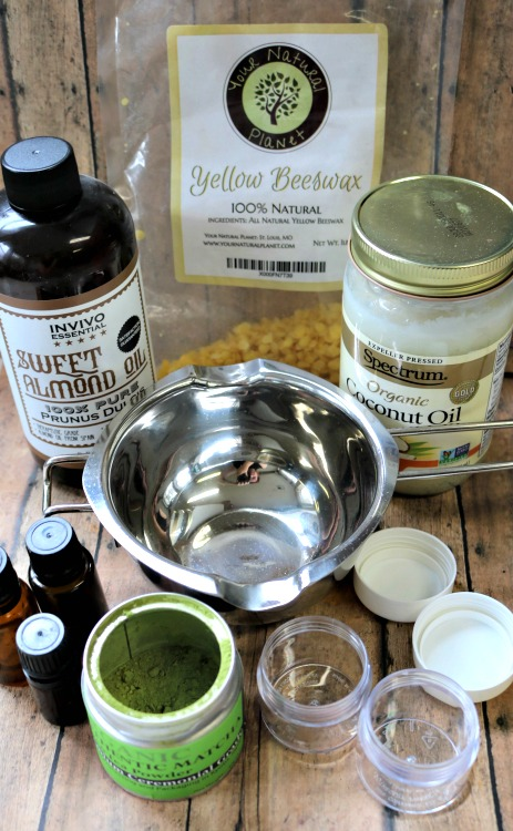 Ingredients to make a matcha green tea salve for youthful skin