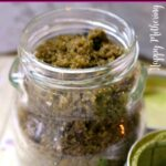Glass jar of matcha green tea brown sugar body scrub