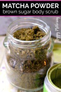 Glass jar of matcha green tea brown sugar body scrub