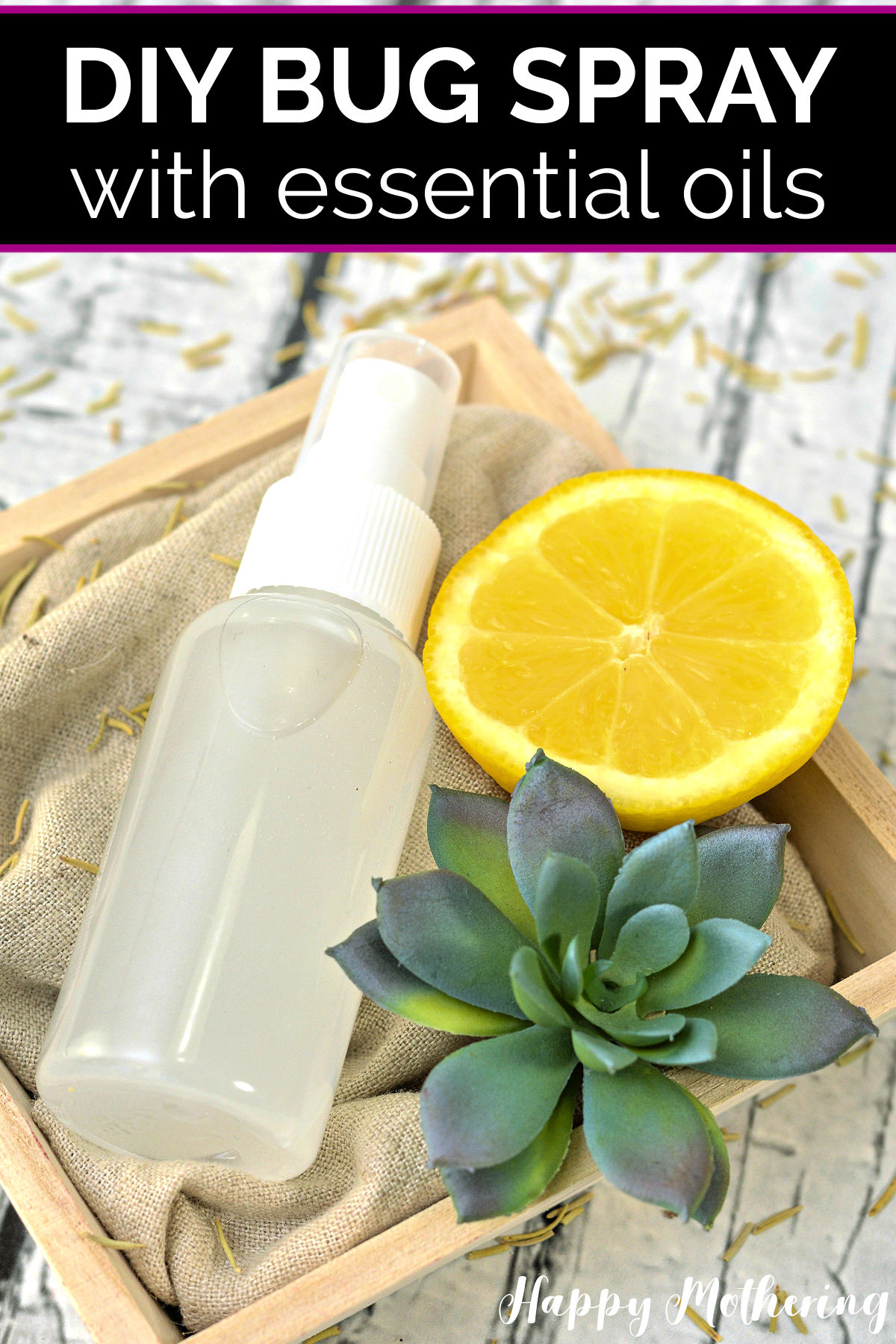 Spray bottle of homemade essential oil bug spray in pretty wood crate with lemon slice and green succulent plant