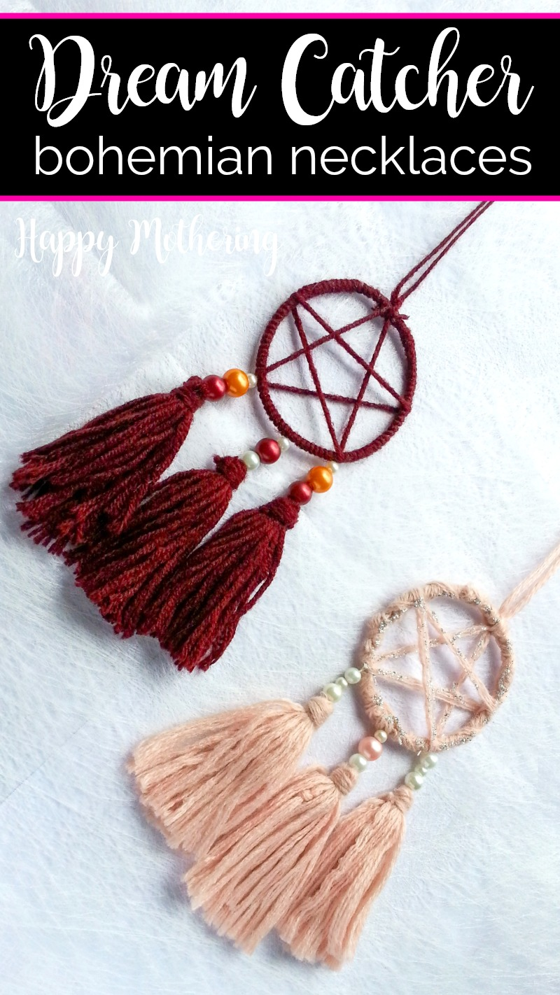 Two DIY dream catcher pendants on a white background