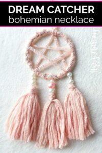 Pink dreamcatcher necklace
