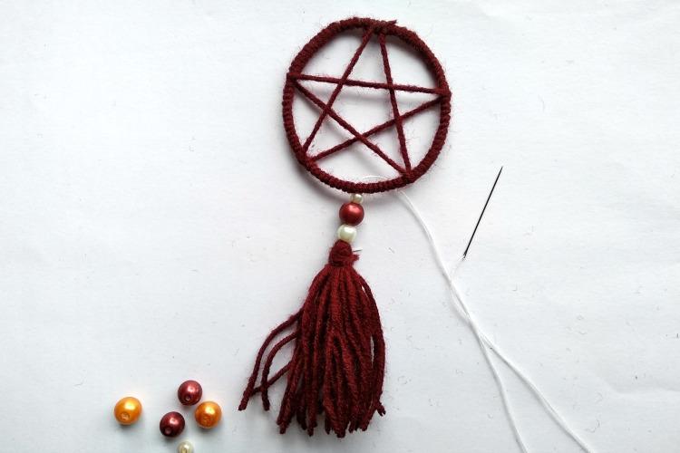 Sewing tassel to dreamcatcher pendant