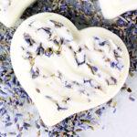 Close up of DIY lavender lotion bar