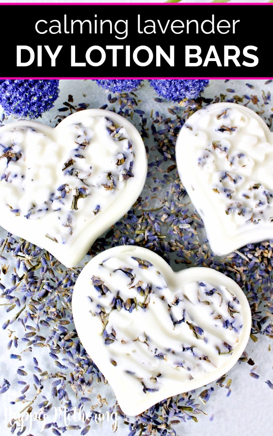 Three solid lotion bars with lots of dried lavender petals