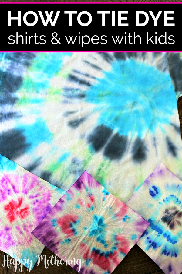One tie dyed t-shirt and 3 tie dyed wipes