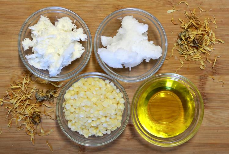 Ingredients to make calendula solid lotion bars