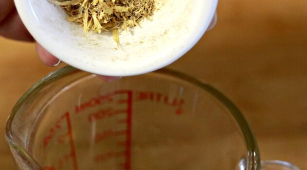 Pouring calendula petals into glass measuring cup to infuse olive oil