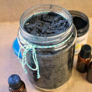 Glass jar of charcoal salt scrub