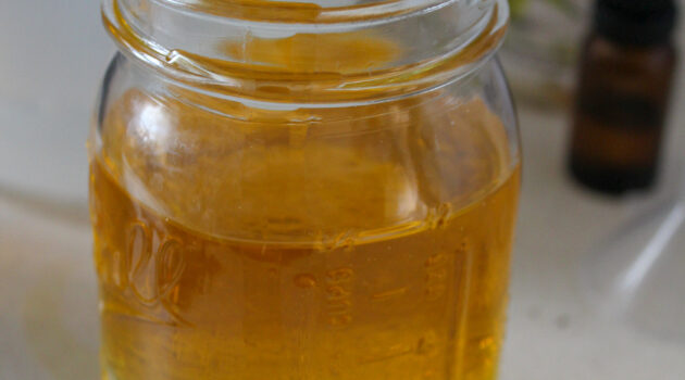 Olive oil and vinegar in a mason jar