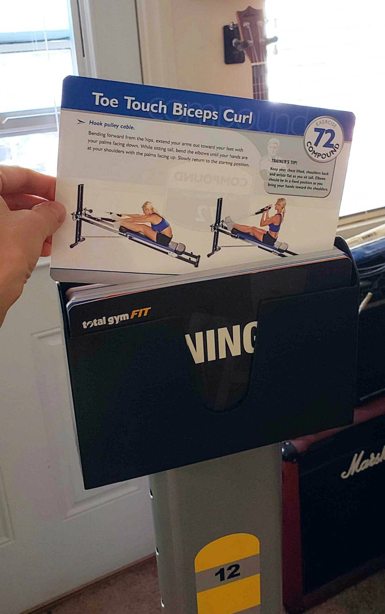 The Total Gym Fit comes with a deck of exercise cards to help you use the Total Gym effectively.
