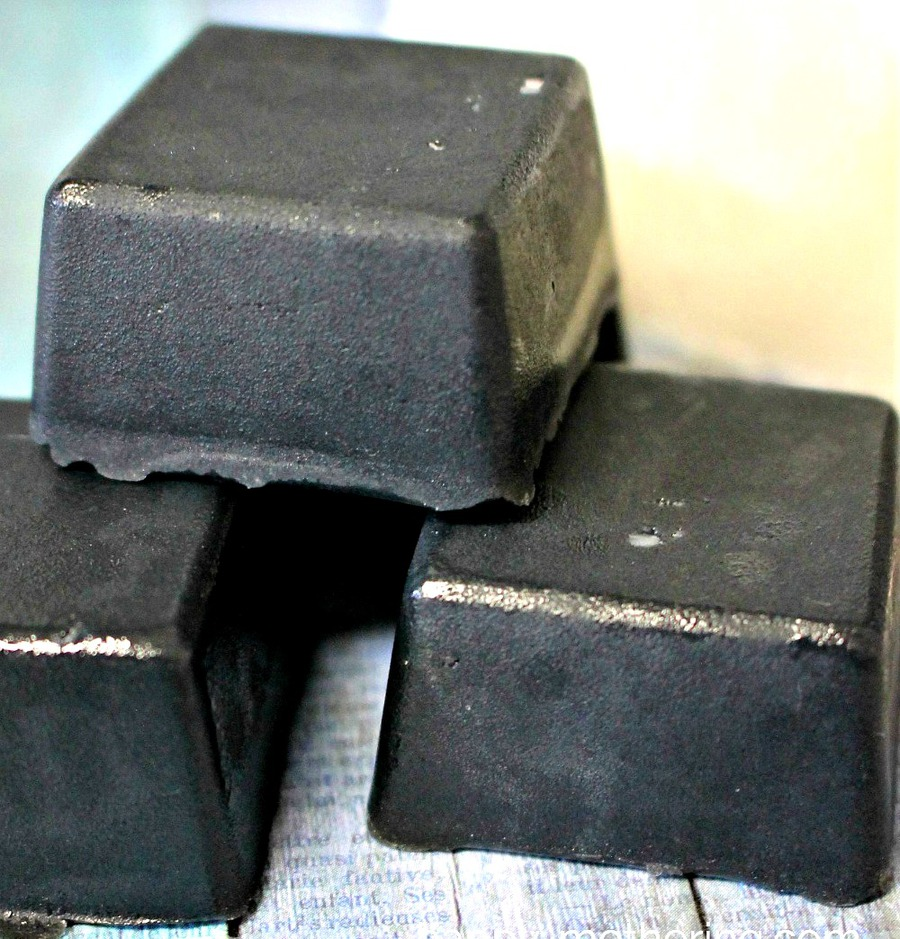 3 bars of activated charcoal soap in a stack
