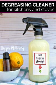 Do you like homemade cleaning products? Our DIY Kitchen Degreaser uses all natural ingredients for a sparkling clean stove!