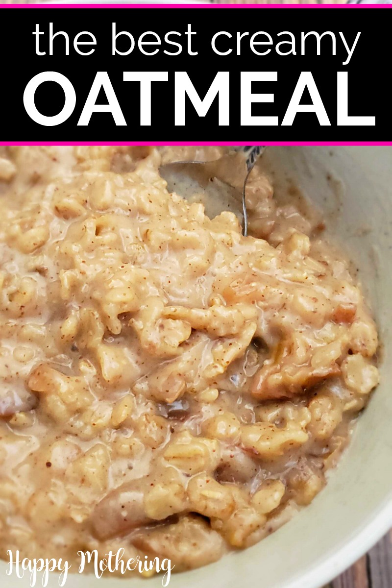 Bowl of creamy oatmeal made with coconut milk for breakfast