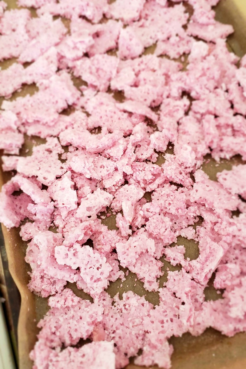 Pop Rocks Fizzing bath salts on a pan in the curing process