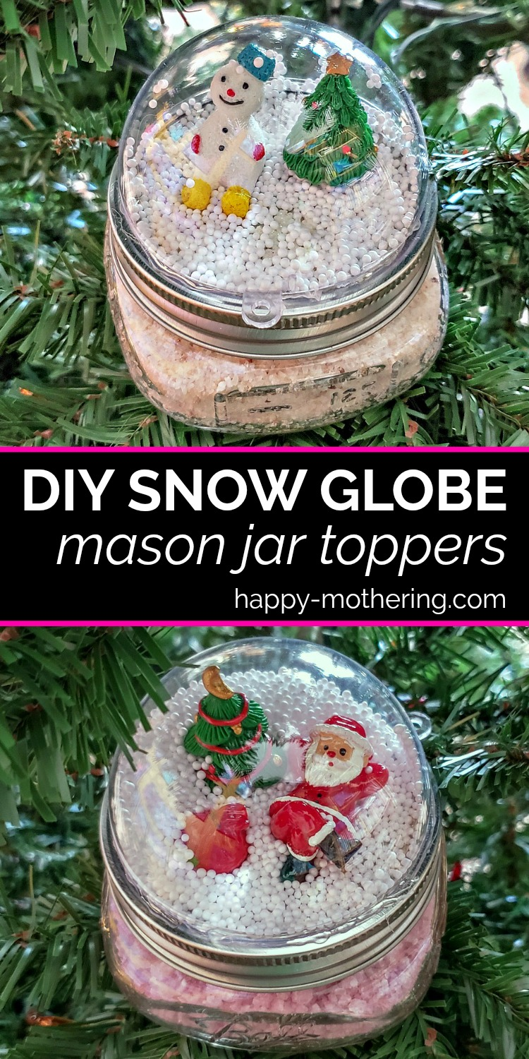 half of a clear plastic ornament to the top of the mason jar ring.