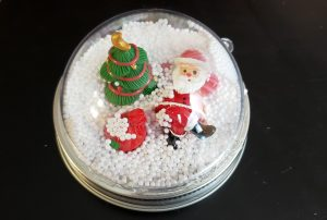 Snow Globe Mason Jar Ring Topper completed