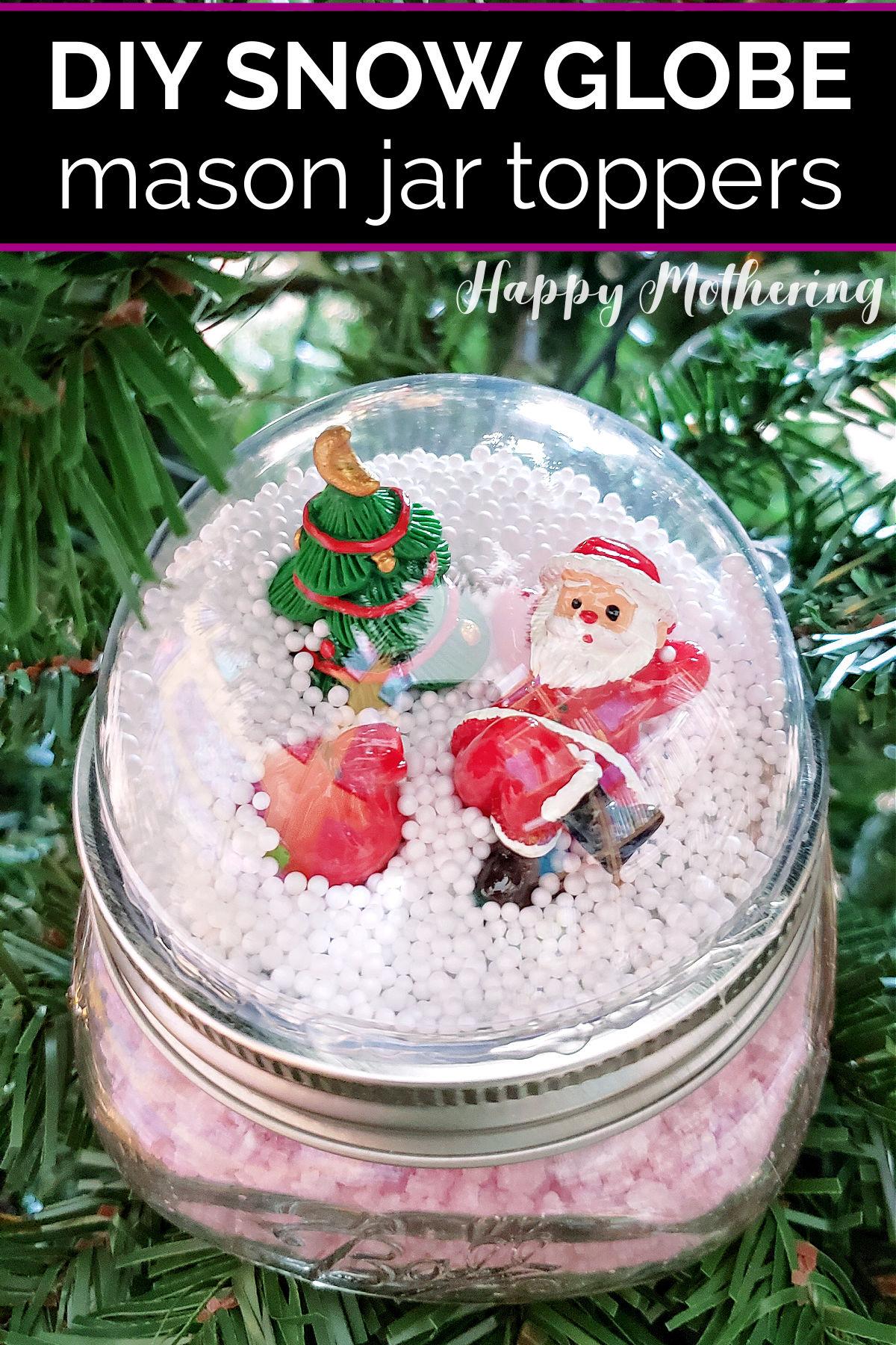 Santa Snow Globe Mason Jar Topper on jar of bath salts