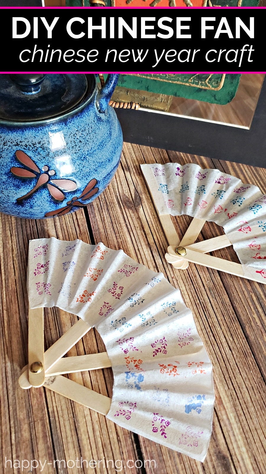 This DIY Chinese Fan craft is a fun family activity to celebrate Chinese New Year. Get the tutorial and see our food of choice to accompany the craft!