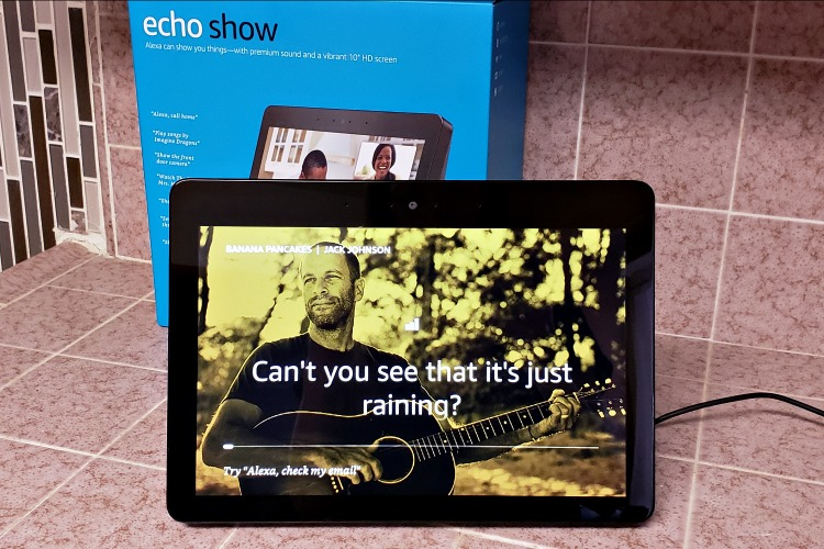 Echo Show playing Jack Johnson songs