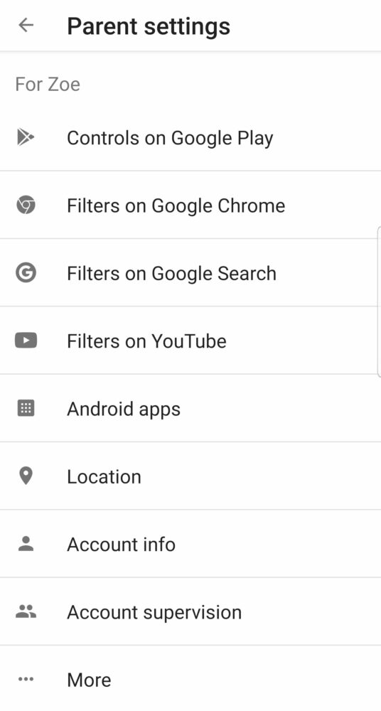 Google Family Link Parent Settings
