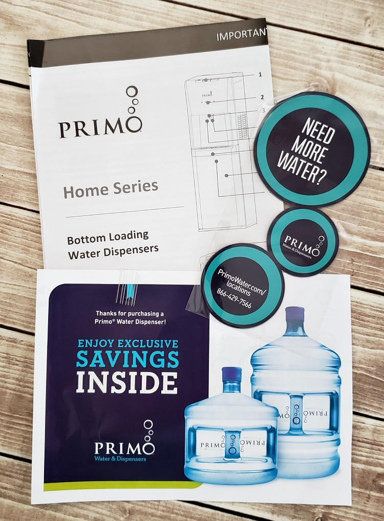 Primo water dispenser welcome mailer on a table