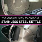 Before image of scaly tea kettle and after image of clean stainless steel tea kettle