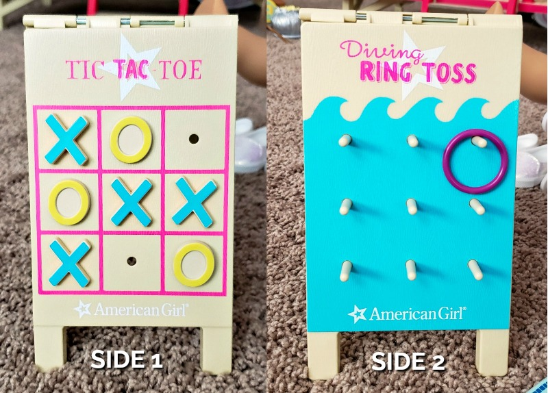 Tic Tac Toe and Diving Ring Toss Game Boards from the American Girl Swimming Pool Set on carpet
