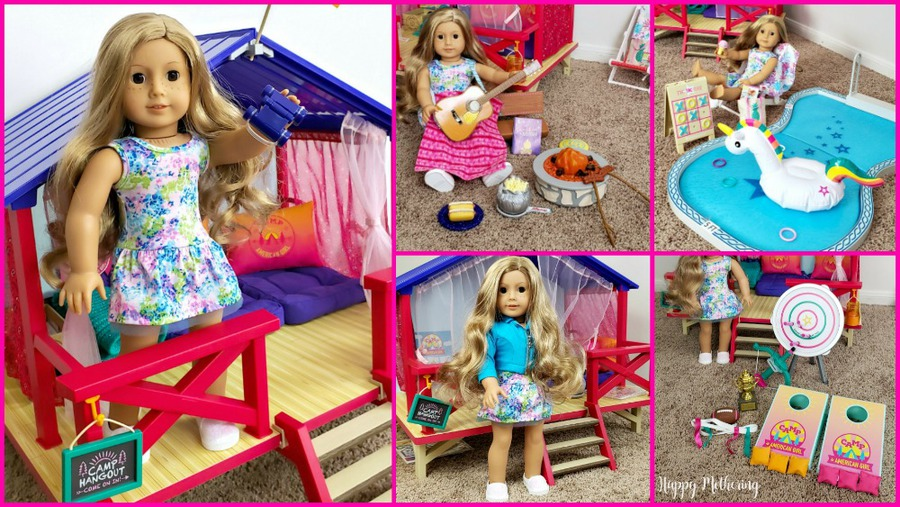 Collage of various American Girl products from the summer line, including Camp American girl sets, a Truly Me doll and more