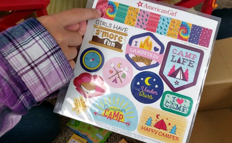 Repositional stickers that can be applied to the back wall of the Camp American Girl Hangout