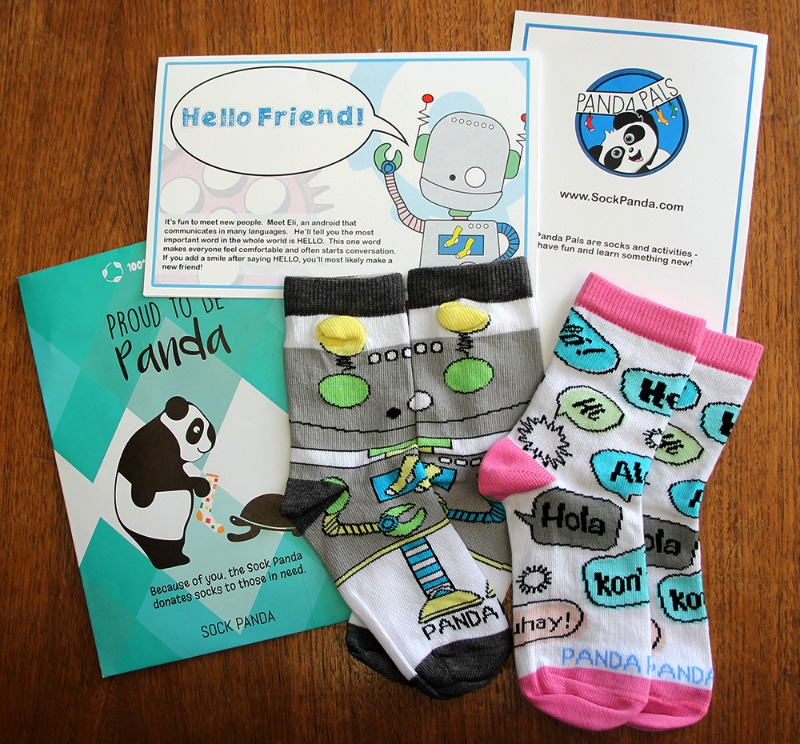 Two pairs of socks and paperwork from Sock Panda subscription box