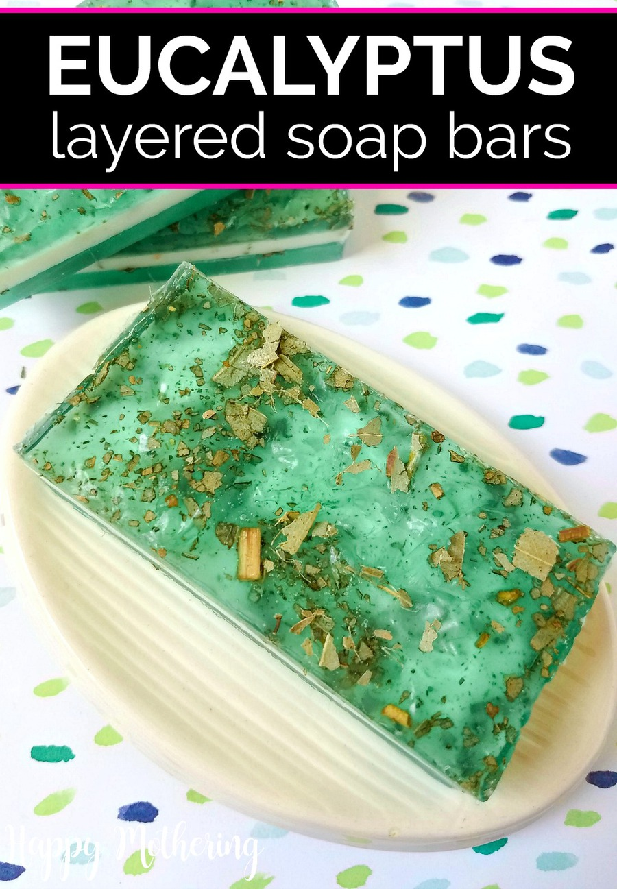Eucalyptus layered soap bar on a soap dish with polka dot background