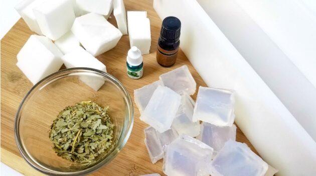 Melt and pour soap cut into cubes