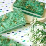 Three layered eucalyptus soap bars with a soap dish
