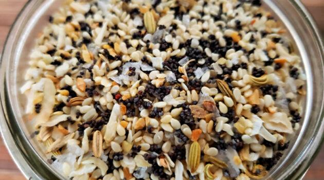 Close up of everything bagel seasoning in a mason jar